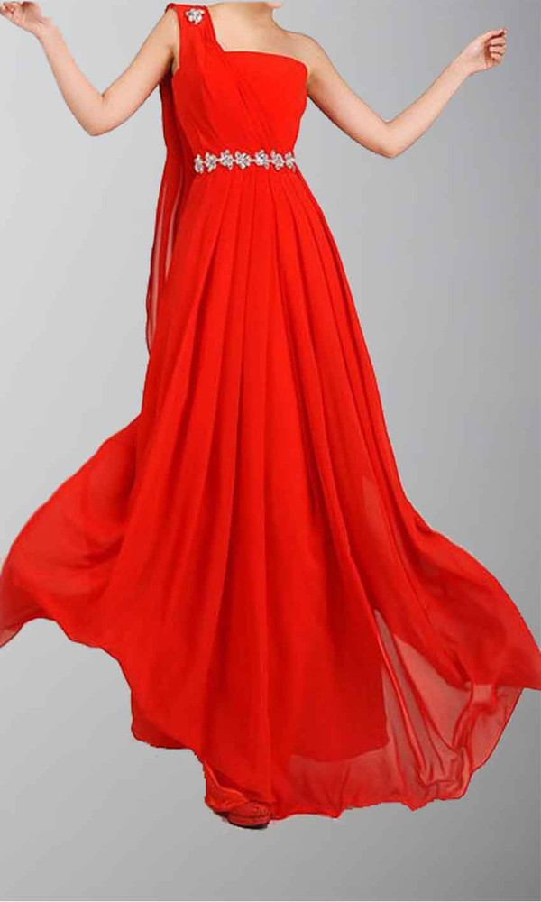 red dress one shoulder prom dress formal dress flowing dresses long prom dress long formal dress