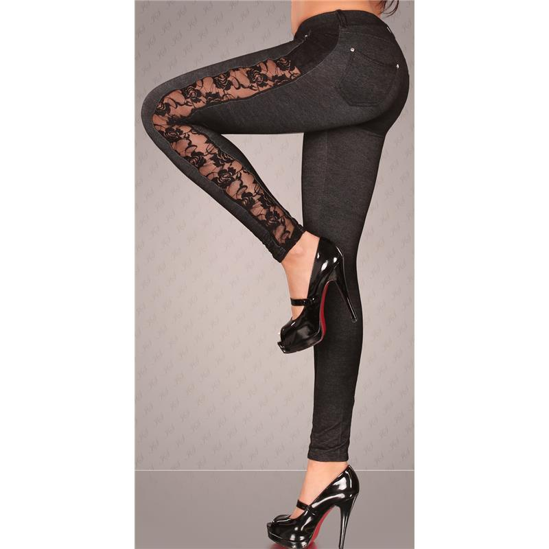 JEGGINGS LEGGINGS JEANS-LOOK WITH LACE BLACK, 23,95 €