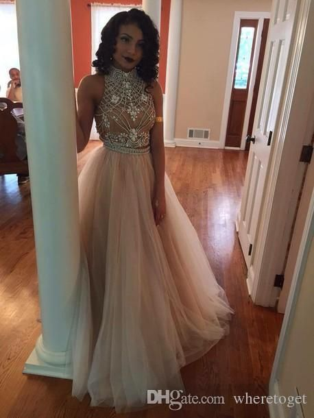 High Neck Two Piece Prom Dresses 2015 Spring Backless Beads Crystals Tulle Formal Prom Gowns Custom Made Long Party Dresses from Wheretoget,$128.44… | Pinterest
