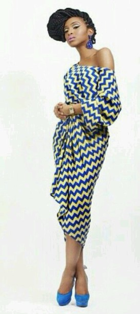 Dress Blue Yellow African American African Print African Simple African Dress Patterns