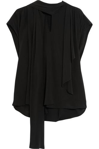 top bow draped silk black