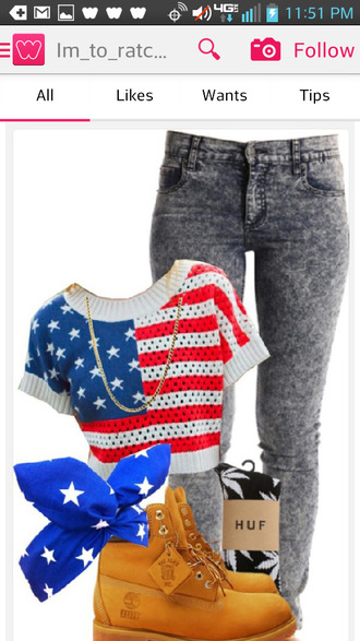 shirt american flag crop top bleached jeans bandana timberlands jeans shorts hat
