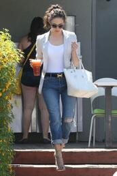 jeans,sandals,blazer,top,emmy rossum