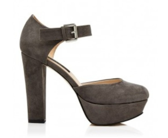 shoes grey ankle strap heels