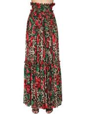 skirt,long skirt,chiffon,long,rose,multicolor