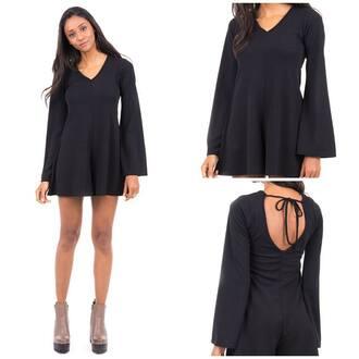 jumpsuit black black playsuit bell sleeves