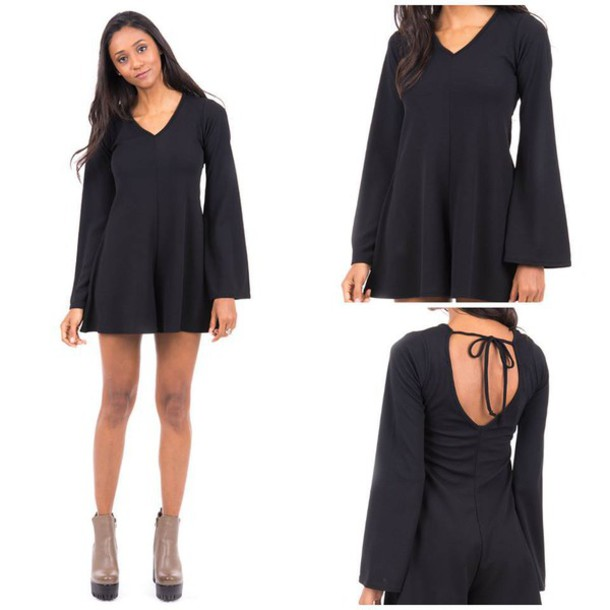jumpsuit black black playsuit bell sleeves