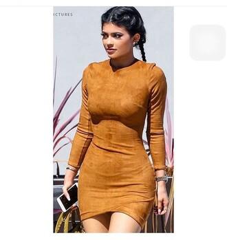 dress tan suedette mistress rocks tan dress long sleeve dress suede dress fall colors short dress bodycon dress kylie jenner