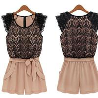 Fashion and cool lace bowknot fashion jumpsuit