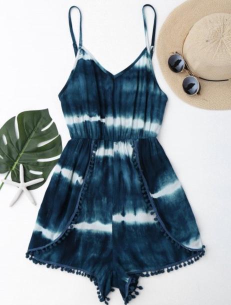 romper ombre tie dye blue summer festivals