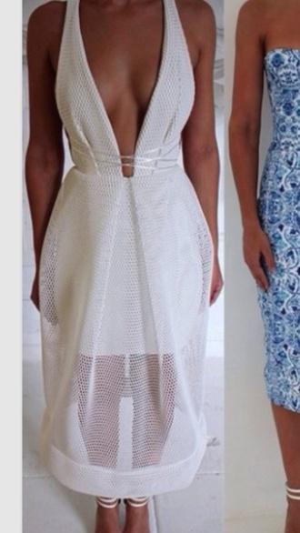 dress white white dress deep v neck dress deep v neck