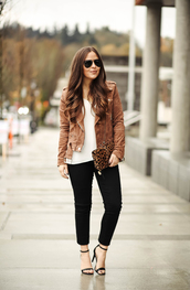 dress corilynn,blogger,jacket,jeans,tank top,bag,shoes,sunglasses,jewels,brown jacket,biker jacket,suede jacket,clutch,animal print bag,high heel sandals,high heels