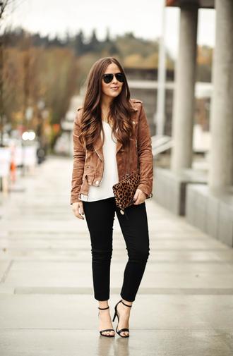 dress corilynn blogger jacket jeans tank top bag shoes sunglasses jewels brown jacket biker jacket suede jacket clutch animal print bag high heel sandals high heels