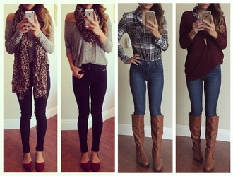 top shirt jeans grey black boots
