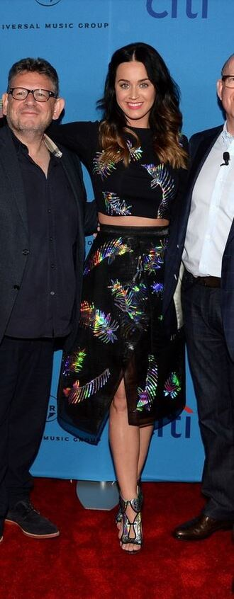 skirt top midi skirt two-piece two piece dress set katy perry crop tops sandals holographic