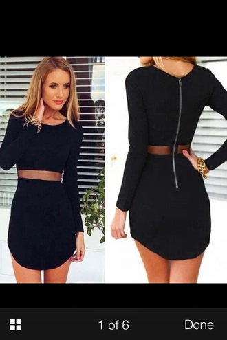 dress black bodycon dress bodycon black dress little black dress zipperback style fashion sexy dress party dress longsleved dress long sleeves