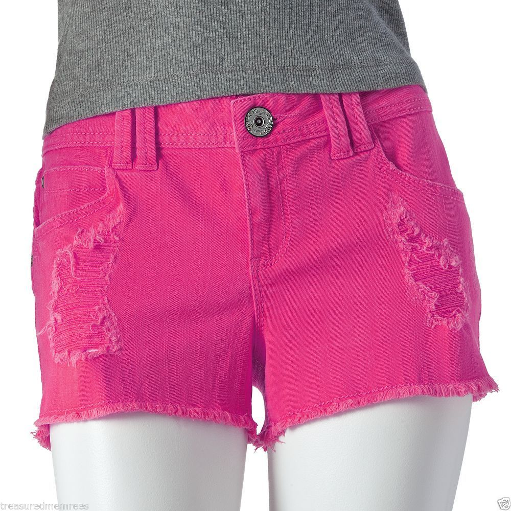 Candie's Colored Frayed Distressed Denim Shorts Size 7 MSRP $40 00 | eBay