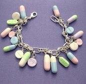 jewels,pills,bracelets,pastel,chain,charm bracelet,pretty,pastel goth,tumblr,jewelry,home accessory