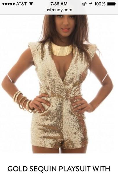 jumpsuit gold sequins romper gold sequins romper