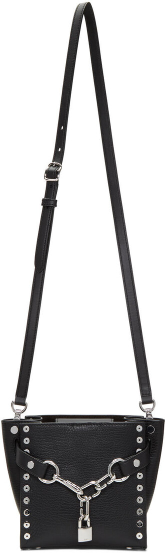 satchel mini studded black bag