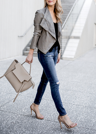 krystal schlegel blogger jacket tank top jeans shoes grey jacket spring outfits handbag sandals high heel sandals tumblr leather jacket bag grey bag denim blue jeans skinny jeans ripped jeans sandal heels grey sandals top black top