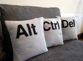 home accessory,pillow,keyboard,alt,ctrl,geek,alt ctrl delete,quote on it pillow,dorm room,nerd