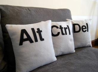 home accessory pillow keyboard alt ctrl geek alt ctrl delete quote on it pillow dorm room nerd