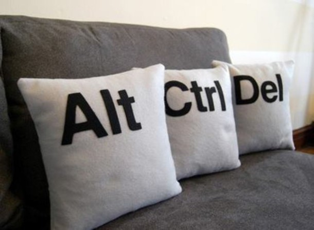 home accessory pillow keyboard alt ctrl pillow geek alt ctrl delete quote on it pillow dorm room nerd