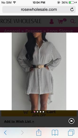 shirt dress gold belt oversized shirt striped shirt high low high low dress