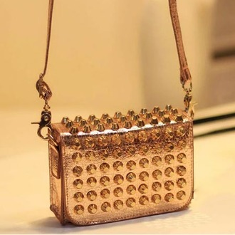 bag handbag shoulder bag studs spikes metallic punk rock clutch studded accessories