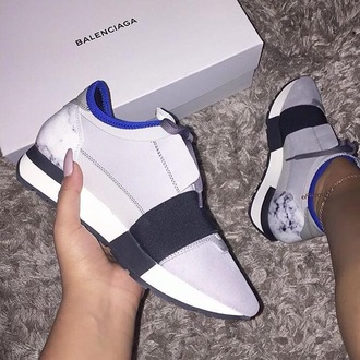 shoes balenciaga sneakers marble white blue low top sneakers grey sneakers