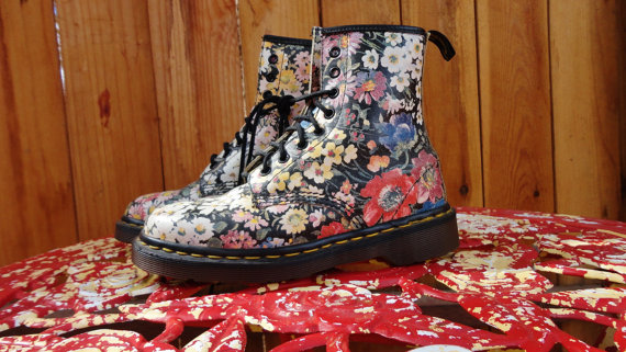 Floral Dr Martens size 6  6.5 by TheDocShop on Etsy