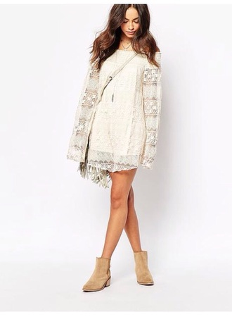 dress boho bohemian lace girl white swing dress white dress lace dress bohemian dress boho dress