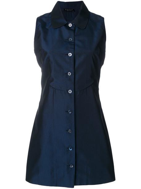 Gucci Vintage dress collared dress women blue silk