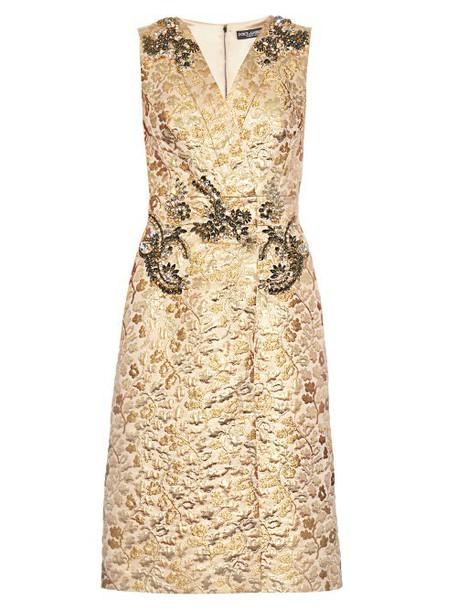 Dolce & Gabbana dress sleeveless dress sleeveless embellished floral gold