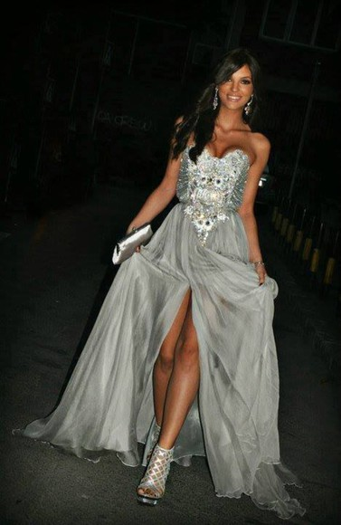 details dress long dress prom dress silver long prom dress grey promdress evening long evening dress