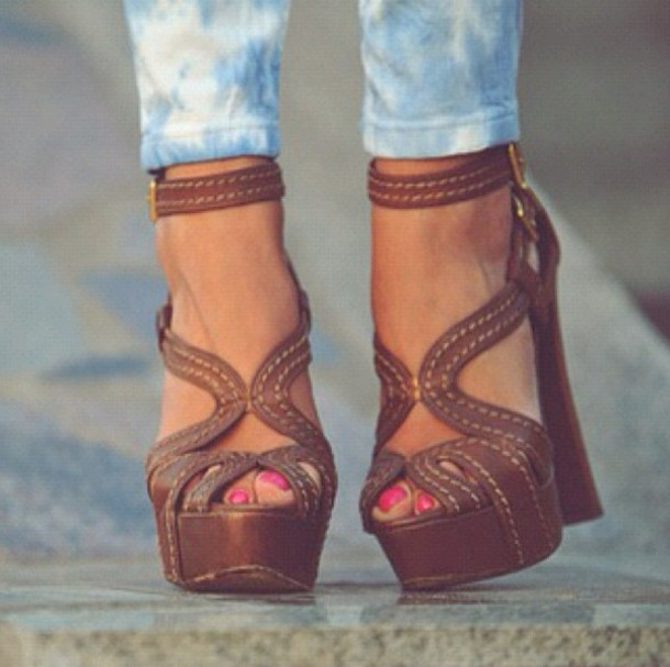 Shoes: block heels strappy heels brown wedges brown wedges