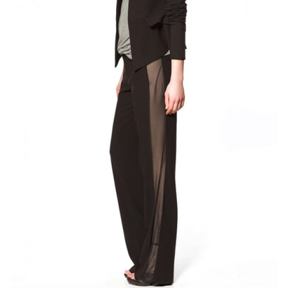 Straight Leg Trousers With Sheer Panels