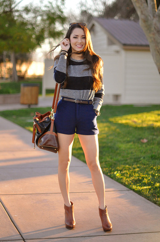 hapa time blogger shorts stripes brown leather boots sweater shoes bag sunglasses jewels