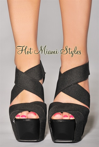 Black CrissCross Straps High Heel Sandals