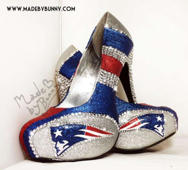shoes, heels, new england patriots heels, glitter heels, rhinestone ...