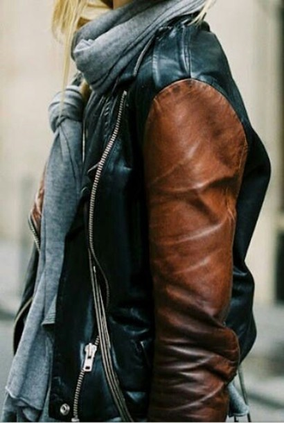 Jacket: leather jacket, black jacket, 2 toned, black, beige ...