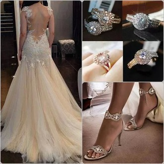 dress wedding dress beautiful shoes jewels
