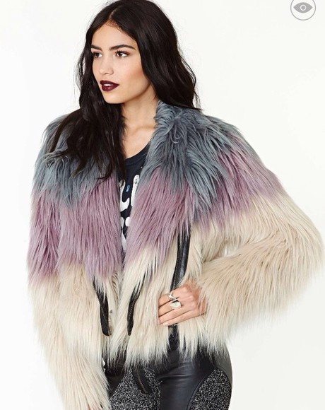 coat nastygal faux fur jacket ombre trendy new years winter outfits