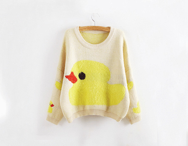 sweater rubber ducky beige duck