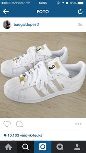 shoes,adidas superstars,home accessory,low top sneakers,white,gold sneakers,adidas,adidas originals,beige,cute,aw2015,fall outfits,style,trendy,fall trend,grey,sneakers,adidas shoes,tan,addias shoes