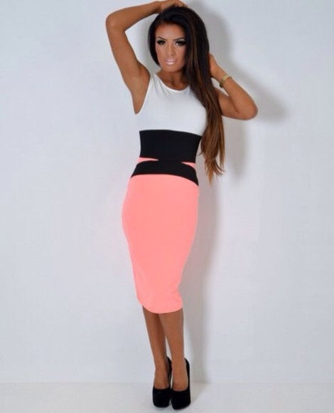dress colour block neon midi dress coral