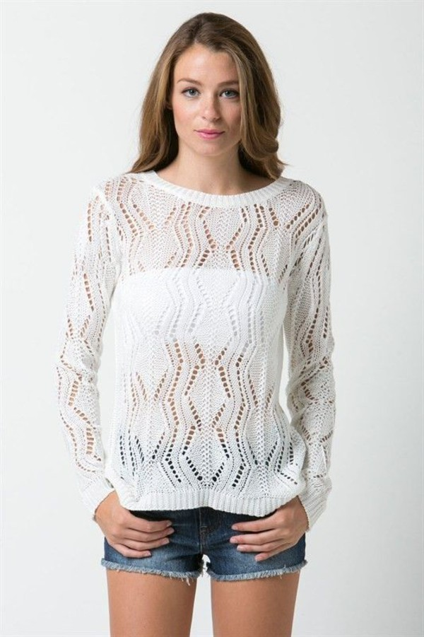 white sweater crochet sweater white crochet bow back sweater sheer sweater www.ustrendy.com sweater