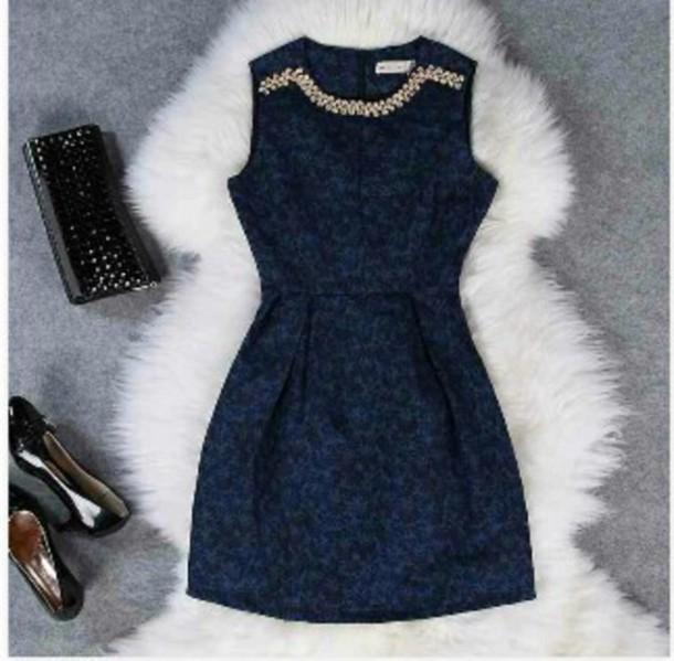 dress dark blue brocade
