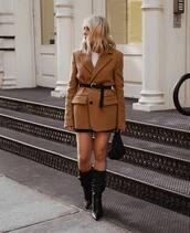 jacket,blazer,wool,oversized,boots,black boots,mini skirt,blouse,belt